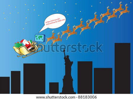 Santa and his Reindeer following Satellite Navigation over New York and the Statue of Liberty suitable for Gift Wrap or Greeting Card - stock vector