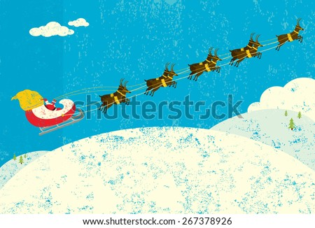Santa and his Reindeer,  Santa Claus flying in his sleigh being pulled by his reindeer. Santa & the reindeer and the background are on separate labeled layers. - stock vector