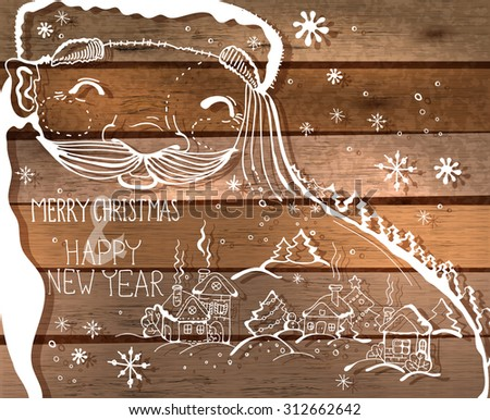 Santa and little town doodle illustration. Christmas card poster banner. Winter illustration, Vector