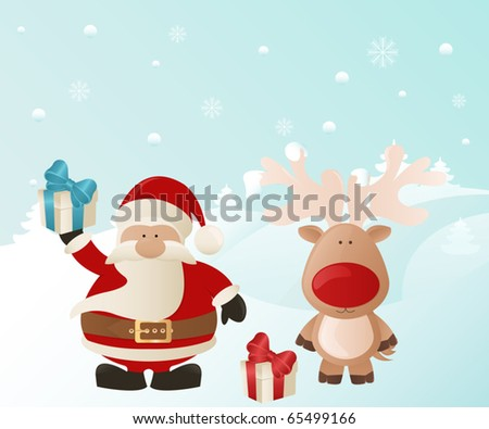 Santa and Reindeer - stock vector
