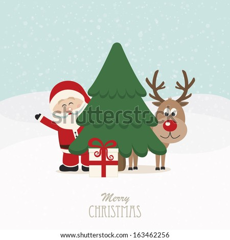 santa and reindeer behind christmas tree snowy background - stock vector