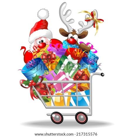 Santa and Reindeer Cartoon on Christmas Shopping Cart - stock vector