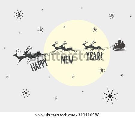 Santa and reindeer in the sky - stock vector