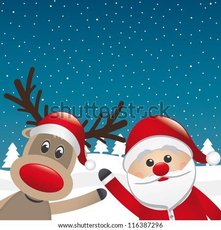santa and reindeer wave hands winter landscape - stock vector