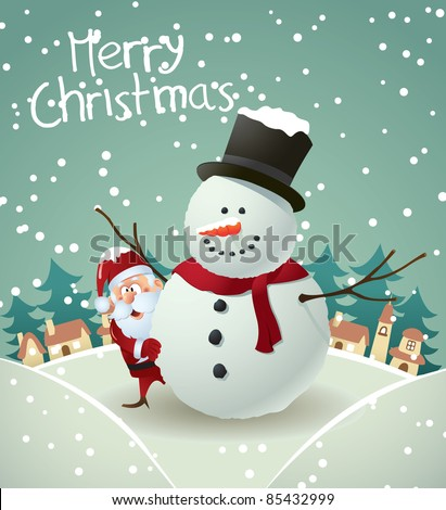 Santa and Snowman Christmas card - stock vector