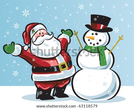 Santa and snowman in snow - stock vector