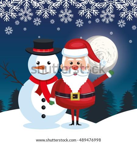 santa and snowman landscape snow moon design - Santa And Snowman