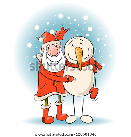 Santa and snowman. Vector Illustration of Christmas theme. 10 eps - stock vector