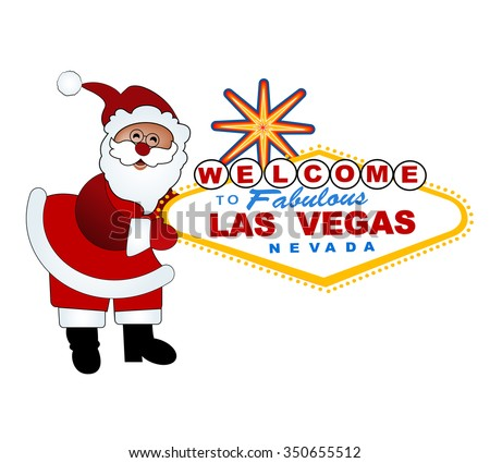 Santa and Welcome to Las Vegas sign - Christmas in Vegas - stock vector