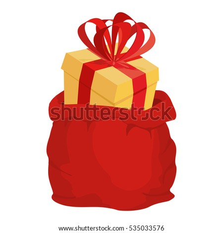 Santa bag with gift. Red big Christmas sack. box with bow