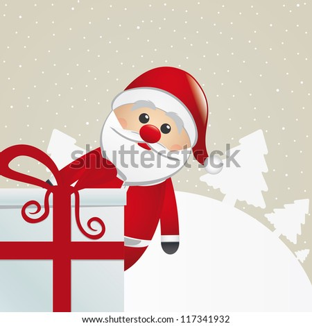 santa behind gift box white winter landscape