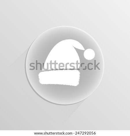Santa cap Christmas hat on a white button with shadow - stock vector