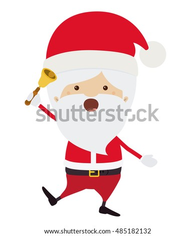 Santa cartoon with bell icon. Merry Christmas season decoration figure theme. Isolated design. Vector illustration