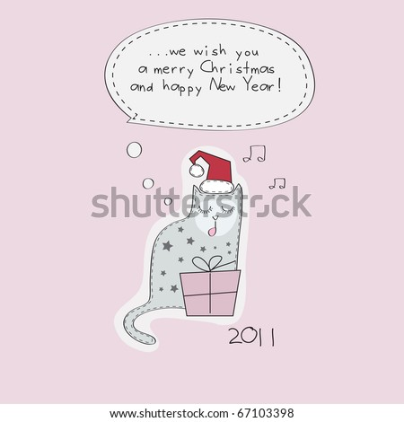Santa cat 2011 sing a song - stock vector