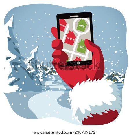 Santa checks his GPS to see who's naughty or nice EPS 10 vector illustration - stock vector