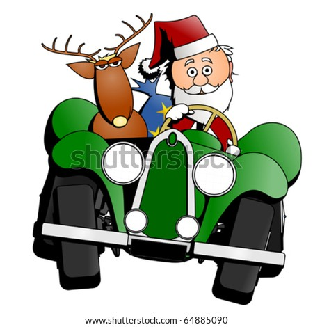 Santa Christmas car, vector - stock vector