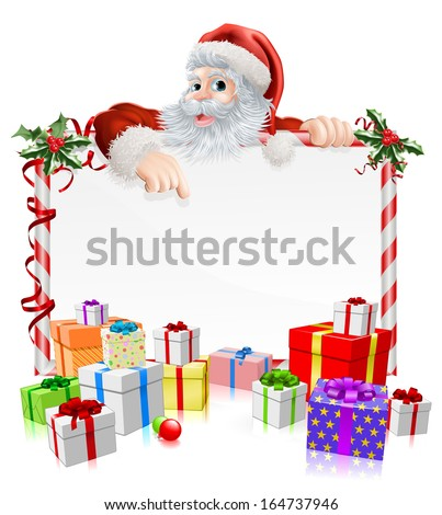 Santa Christmas gifts sign illustration with Santa peeking over a sign surrounded by stacks of Christmas gifts - stock vector