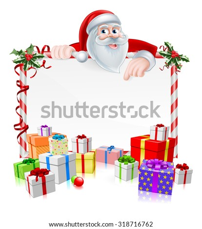 Santa Christmas Sign with cartoon Santa peeking over a sign with gifts and Christmas holly - stock vector