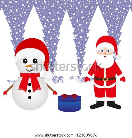 Santa Claus, a snowman and a Christmas gift - stock vector