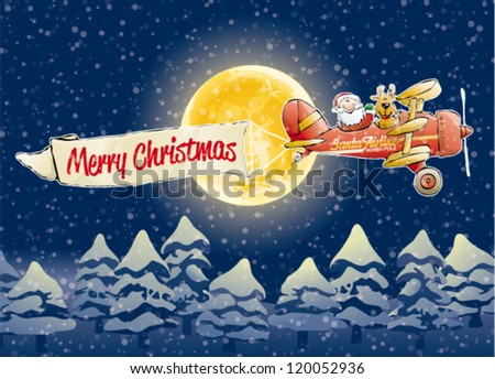 Santa Claus airline - cartoon illustration of flying Santa Claus with reindeer in airplane - stock vector