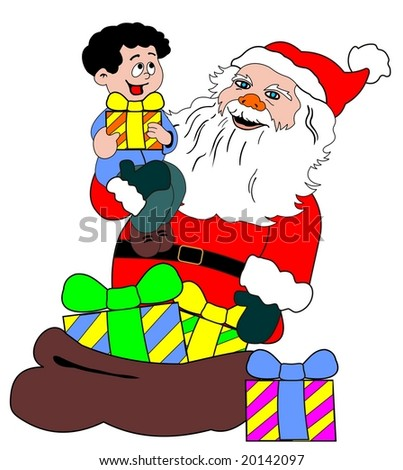 santa claus and child vector file