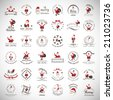 Santa Claus And Christmas Elements Set - Isolated On Gray Background - Vector Illustration, Graphic Design Editable For Your Design - stock