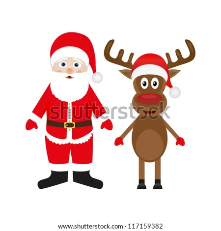 Santa Claus and Christmas reindeer on white background - stock vector