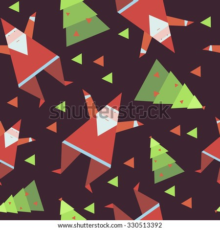 Santa Claus and Christmas tree seamless texture, all objects geometric polygonal - stock vector