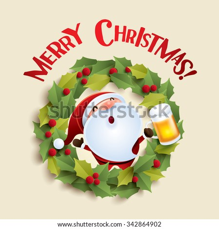 Santa Claus and Christmas wreath - stock vector