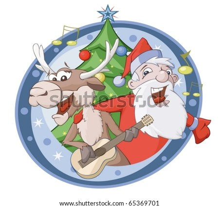 Santa Claus and deer are singing song - stock vector
