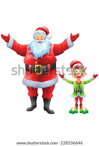 Santa claus and elf welcome with open hands isolated