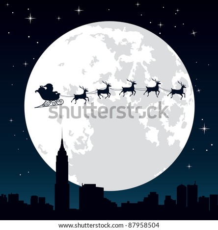 Santa Claus and his reindeer sleigh backlit by the full moon. Editable vector illustration. - stock vector