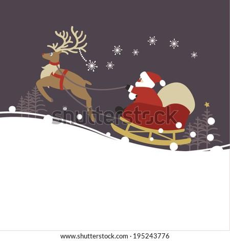 Santa claus and reindeer - stock vector