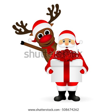 Santa Claus and reindeer cartoon with a gift