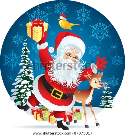 Santa Claus and Reindeer giving Christmas present - stock vector