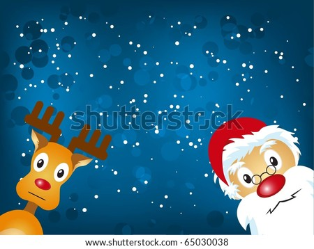Santa Claus and Reindeer in blue background - stock vector