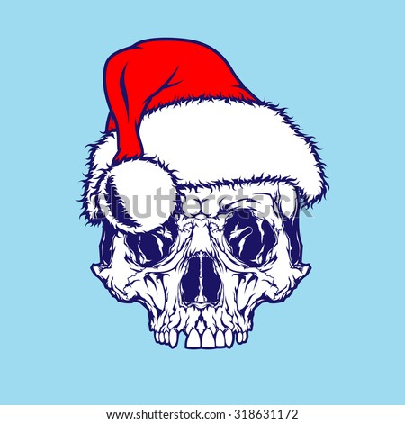 Santa Claus and Scull Colors - stock vector