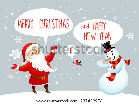 Santa Claus and snowman greetings. Winter holiday card. - stock vector