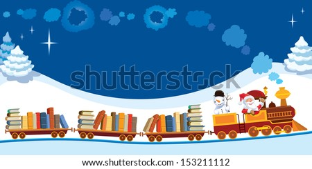Santa Claus and snowman in a toy train with books.  - stock vector