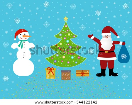 Santa Claus and snowman standing near a Christmas tree under the snow - stock vector