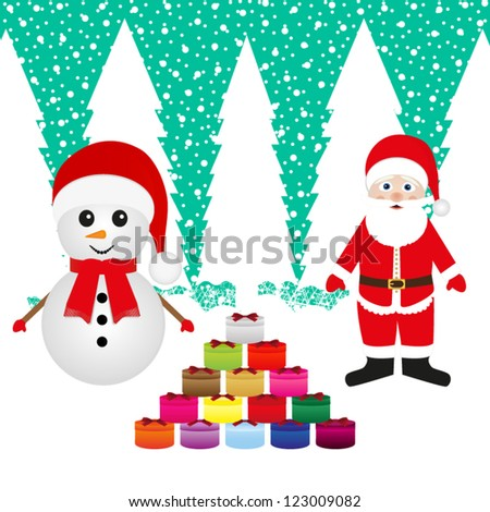 Santa Claus and snowman with Christmas presents - stock vector
