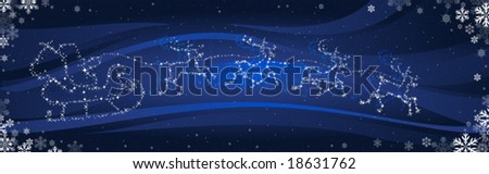 santa claus are sledging through the night - stock vector