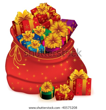 Santa Claus bag full of christmas presents over white background - stock vector