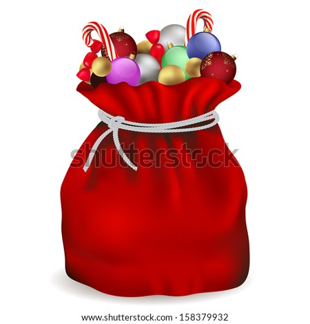 Santa Claus bag with candy and ball colors - stock vector
