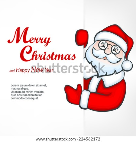 Santa Claus behind white blank sign & text, vector illustration - stock vector