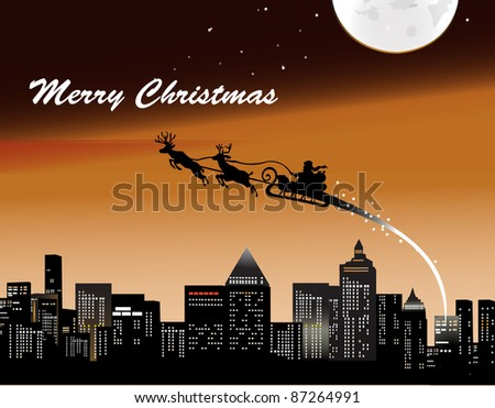 Santa Claus brings gifts around town with his army - stock vector