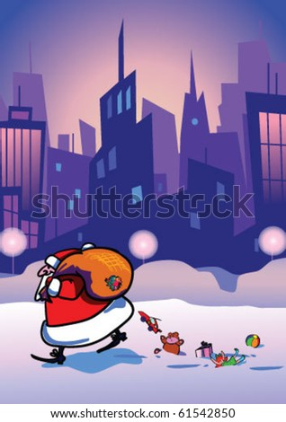 Santa Claus came at night to city deliver a gifts.Vector illustration. - stock vector