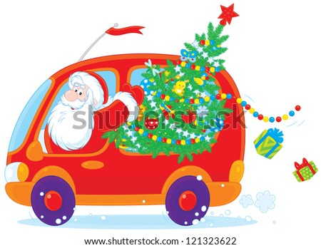 Santa Claus carries Christmas tree and gifts in his red car - stock vector