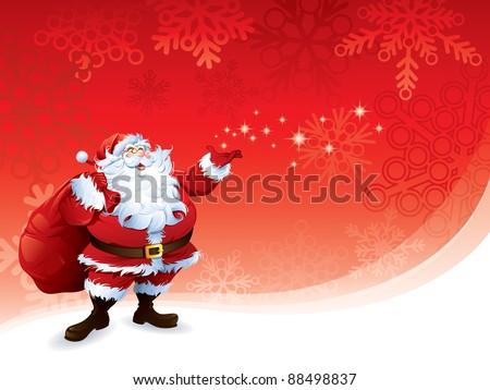 Santa Claus carrying sack - stock vector