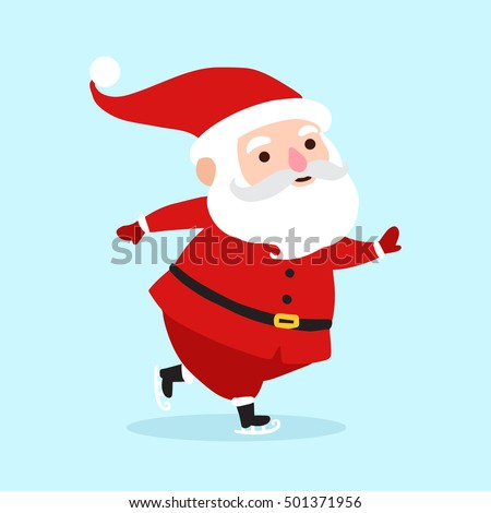 Santa Claus cartoon character icon isolated on blue background. Santa background for christmas greetings card, banner, poster, invitation. Vector illustration eps10 format.